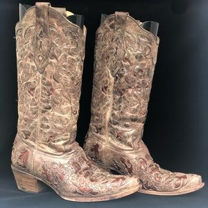 CORRAL TOBACCO WITH CAIMAN INLAY COWBOY BOOTS